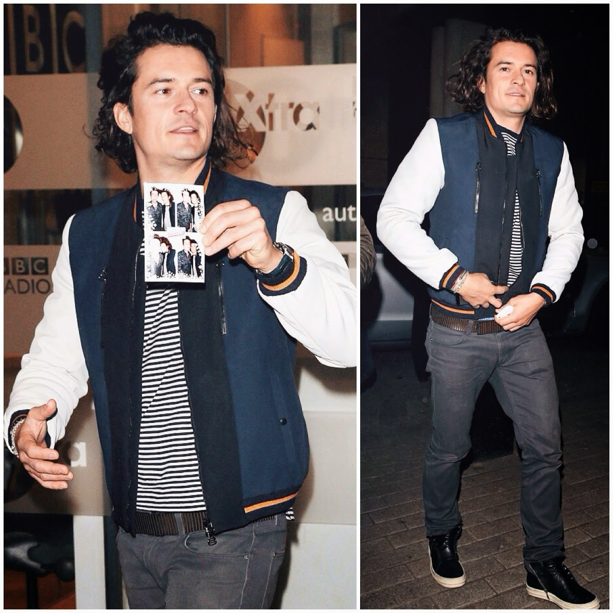 Orlando Bloom wears Lanvin Contrast Panel Varsity Jacket at BBC Radio One Show with Nick Grimshaw 4th December 2014