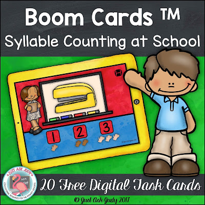This is a set of 20 free school-themed digital phonological awareness task cards for counting one, two, and three syllables. Simply name the picture, clap the syllables, and click on the correct number! This deck has a fixed sequence.