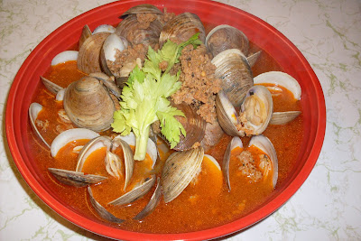 Clams in Chorizo Broth, perfect to dip crusty bread into!