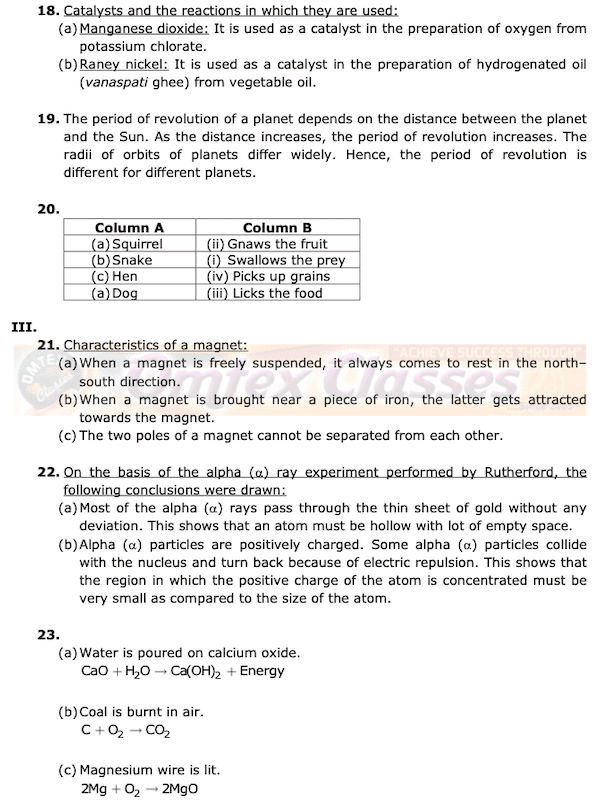 Class 8 Science Board Question Papers.