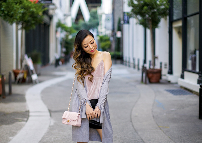 bow knot cardigan, velvet cami, faux leather skirt, chanel mini flap bag, tassel ankle booties, baublebar earrings, san francisco street style, fall outfit ideas, baublebar QUEENIE SEQUIN DROP EARRINGS