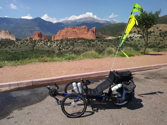Pikes Peak and the Red Rock Formations of the Garden of the Gods, Colorado Springs, CO.