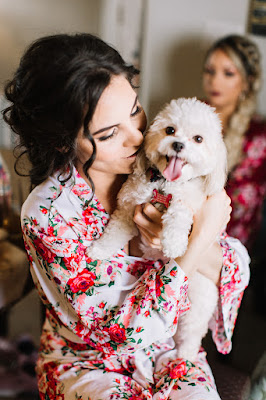 bride and her dog on wedding morning