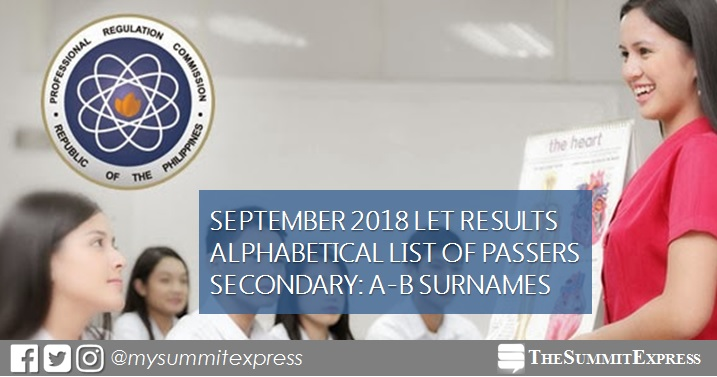 A-B LIST OF PASSERS Secondary: LET Results September 2018