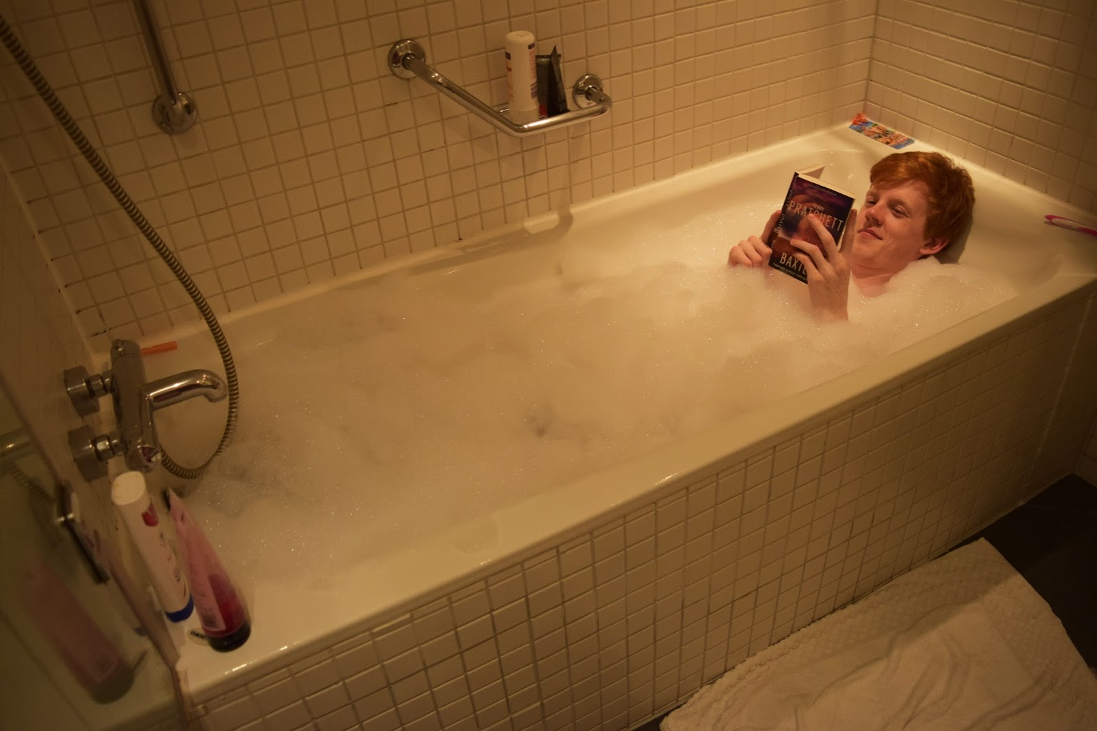 Sean taking a relaxing bubble bath