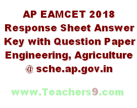 AP EAMCET 2018 Response Sheet Answer Key with Question Paper Engineering, Agriculture @sche.ap.gov.in