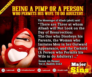 MAJOR SIN. 34. BEING A PIMP OR A PERSON WHO PERMITS HIS WIFE TO DO ADULTERY
