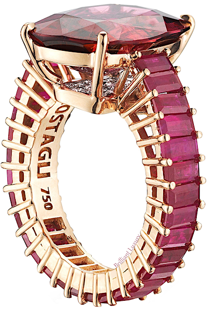 Paolo Costagli 18ct rose gold cushion-cut rubellite tourmaline eternita ring ~ rubellite tourmaline 10.19 ct, rubies 5,53 ct & diamonds 0.34 ct #brilliantluxury