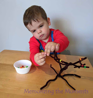 Fall leaves pipe cleaner fine motor activity