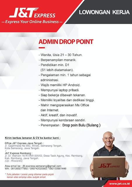Lowongan Kerja Admin Drop Point Ekspedisi J&T Penempatan Kecamatan Sulang Dan Bulu Kabupaten Rembang