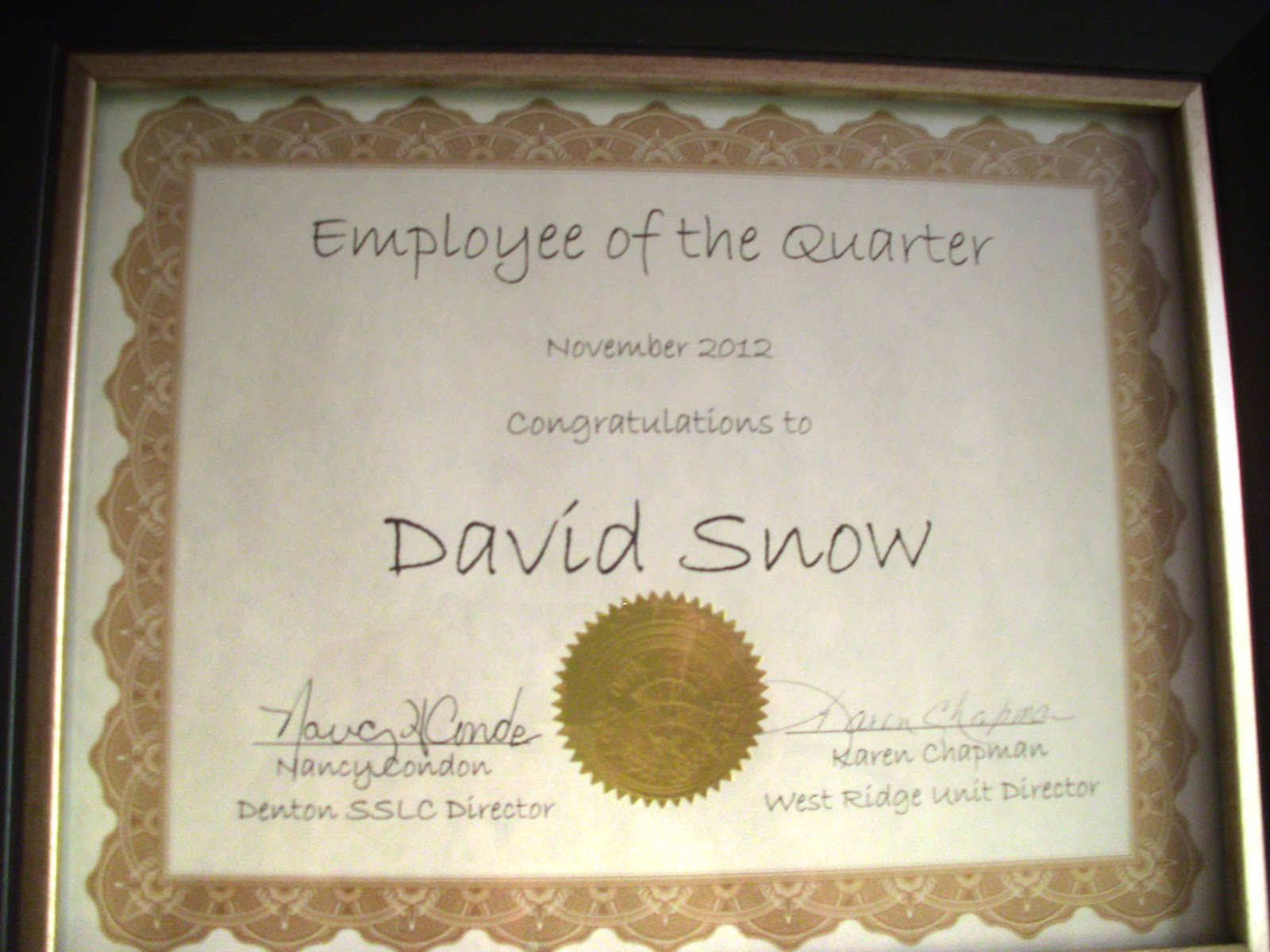 Snow 39 s journal employee of the quarter for Employee of the quarter certificate template