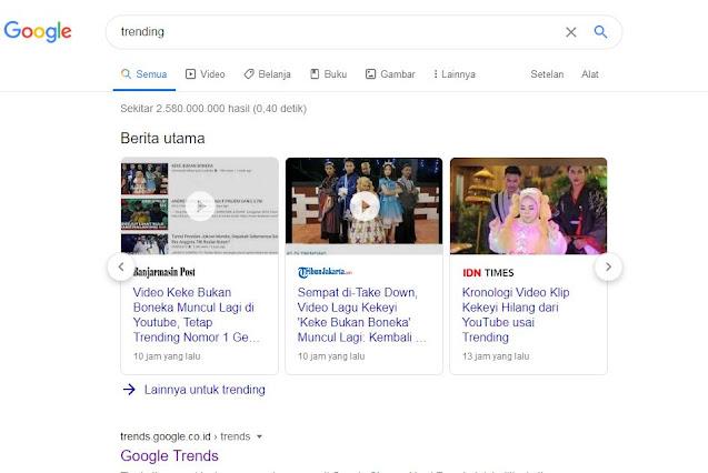 """Type the word """"Trending"""" in Google"""