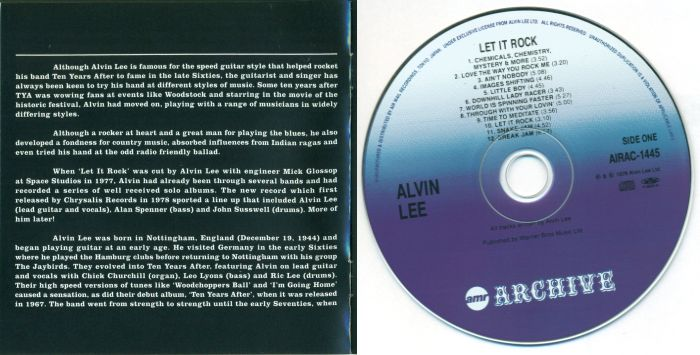 ALVIN LEE - Let It Rock [AirMail Archive Japan miniLP digitally remastered +2] disc