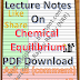 Lecture Notes on Chemical Equilibrium PDF