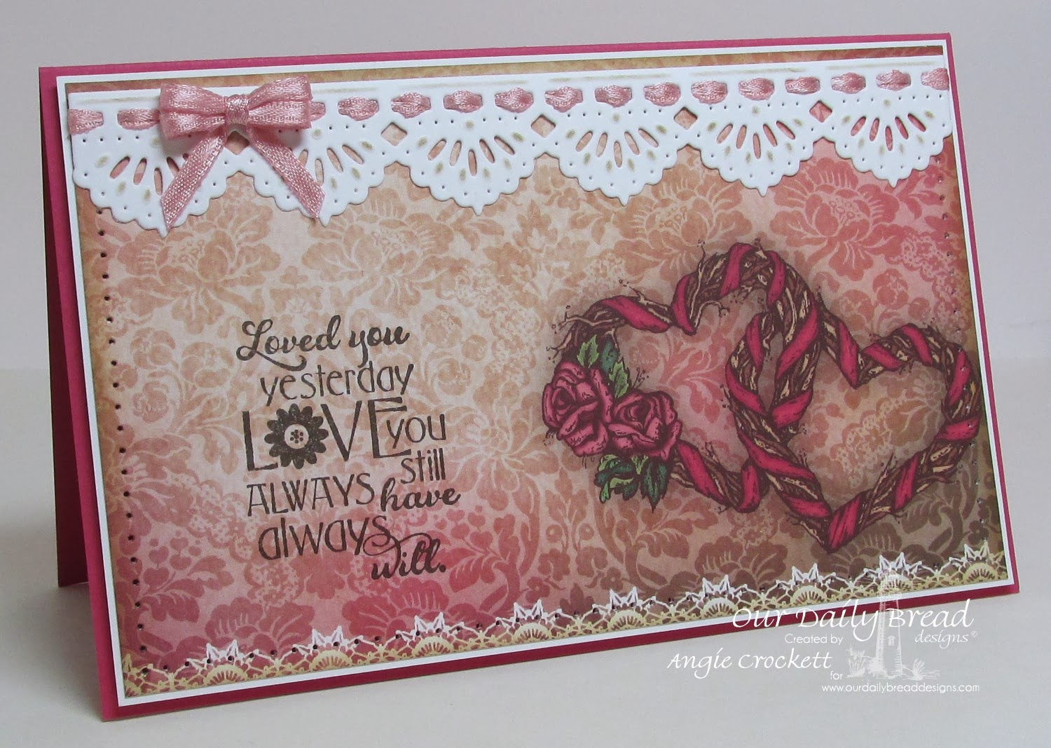 ODBD Love You Bunches, ODBD Custom Beautiful Borders Die Set, ODBD Heart and Soul Collection Designer Paper, Card Designer Angie Crockett