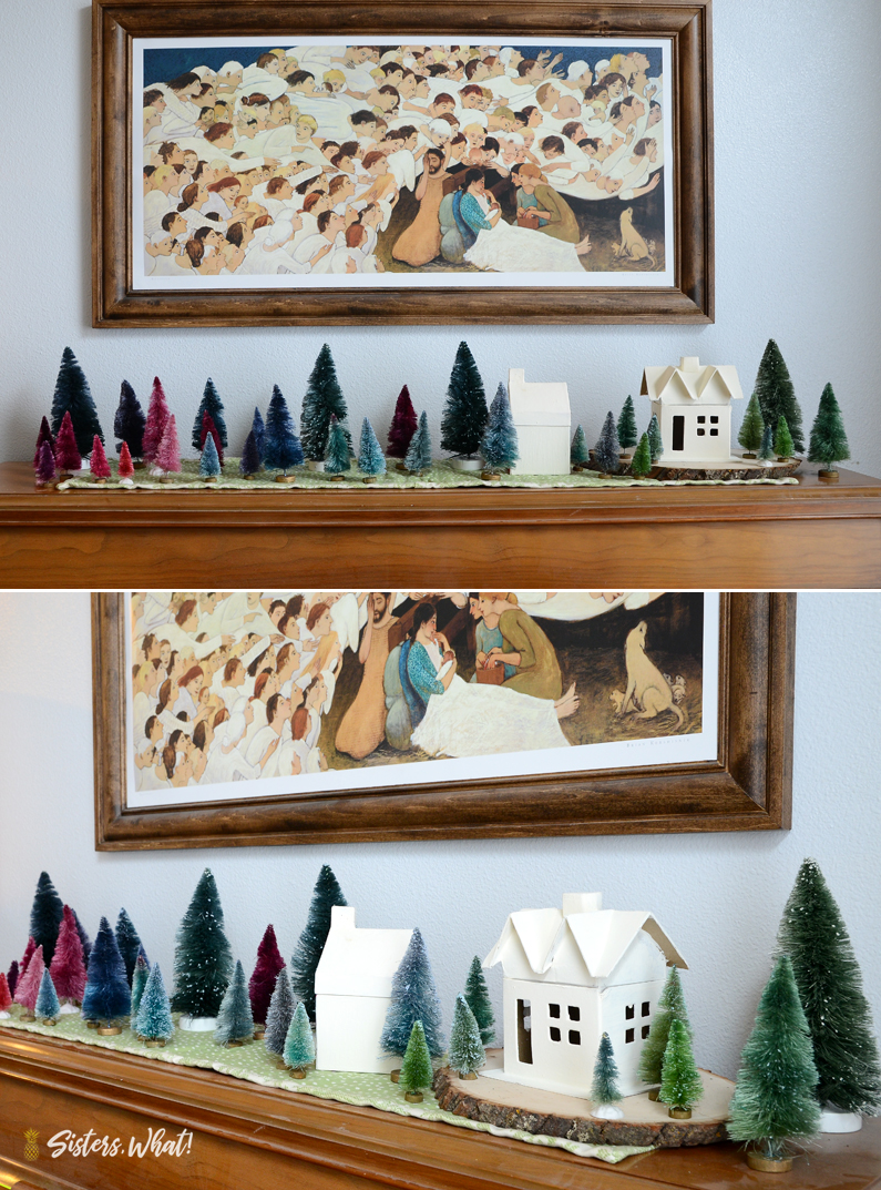 DIY modern Christmas village colorful trees