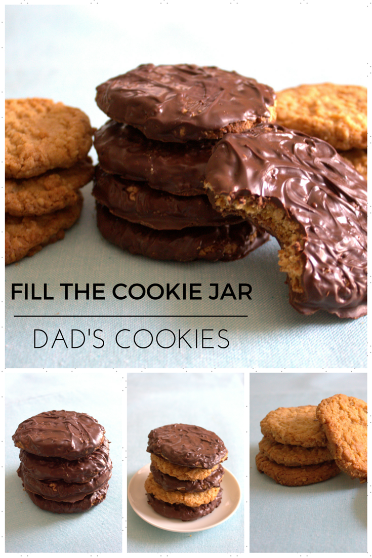 This and That: Dad's Cookies - Fill the Cookie Jar  Fill the cookie jar with delicious chewy oatmeal cookies that can be dipped in chocolate.