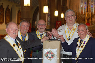 Ormskirk Knights of Saint Columba Collect Spectacles for the Giving Sight To Africa Appeal - Life In Another Town