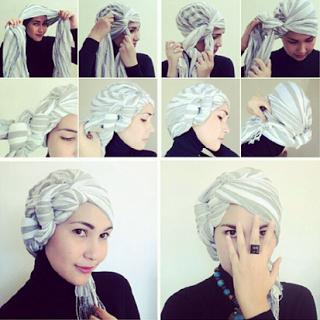 Tutorial Hijab Turban Pashmina Modern Gaya #3 Kelabang Samping