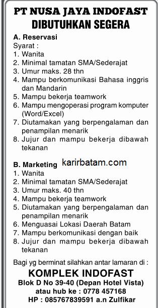 Lowongan Kerja PT. Nusa jaya Indofast