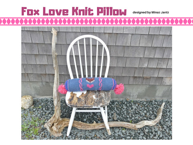 Fox Love bolster pillow design by Minaz Jantz