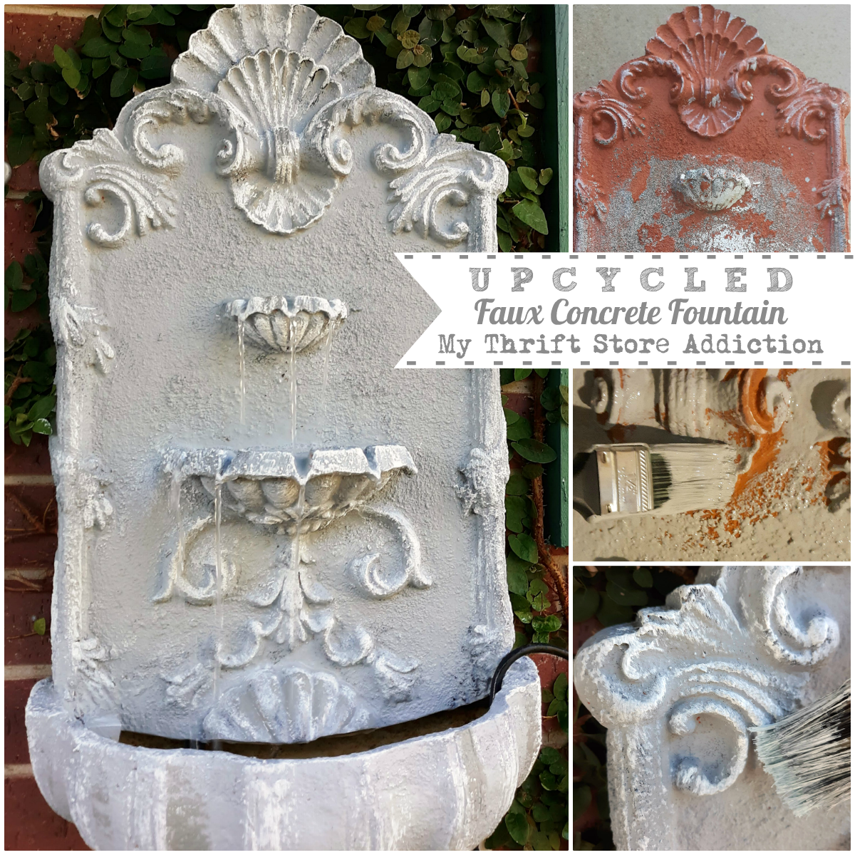upcycled faux concrete fountain