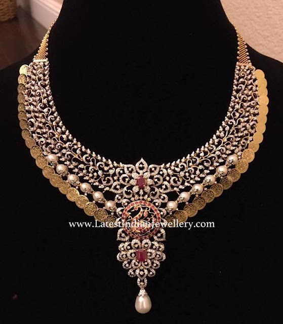 Diamond Bridal Kasu Necklace