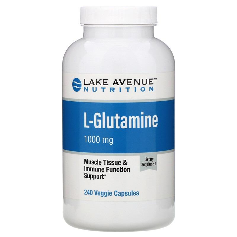 Lake Avenue Nutrition, L-глютамин, 1000 мг, 240 растительных капсул
