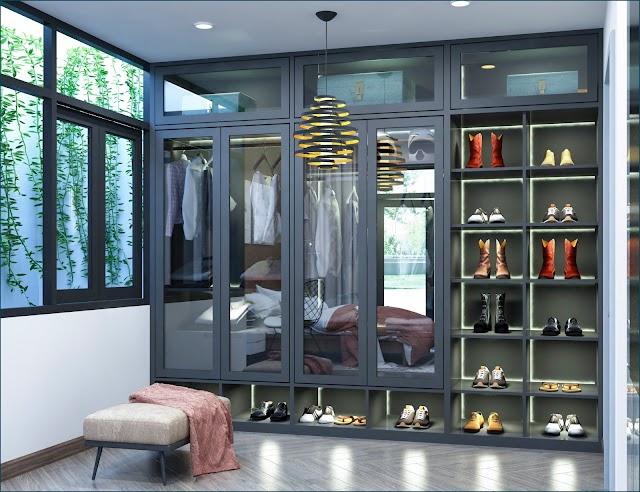 Thiết kế nội thất phòng thay đồ rộng rãi cho phòng ngủ kèm model SU để download