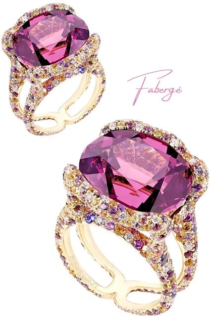 Fabergé Emotion Katharina yellow gold 18.81ct spinel ring with diamonds & pink gemstones #brilliantluxury