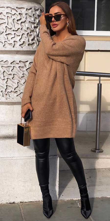 Camel faux fur coat, jumper dress | From knit sweaters to knit sweater dress, knit cardigan dress to knitting cardigan. There are so much to try in knitwear fashion. Here are 25 cute knit outfits ideas to wear. knitting clothes and knitted outfits via higiggle.com #sweaters #knit #outfits #style