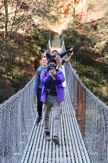Obed Morales Betanzo and classmates on a rope bridge