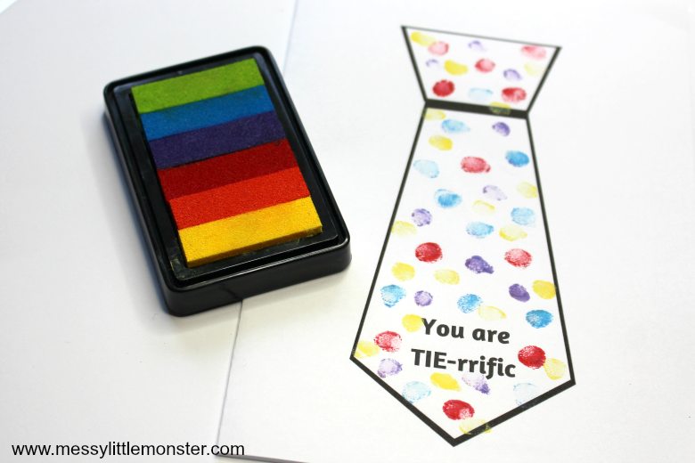 fingerprint tie card with free printable template for fathers day