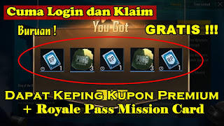 Login Di Server Ini Gratis Keping Kupon Premium dan Royale Pass Mission Card