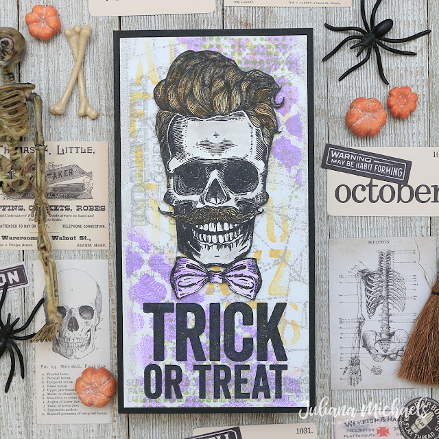 Trick or Treat Halloween Card by Juliana Michaels featuring Tim Holtz Stampers Anonymous Wicked Hipsters and Bold Frights Stamp Sets