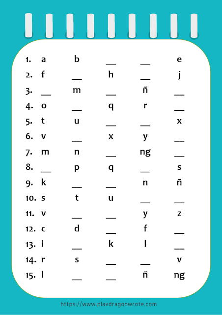 Official Tagalog Alphabet Small Letters Exercises Picture
