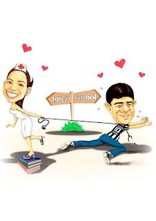 caricatura engraçada de noivos