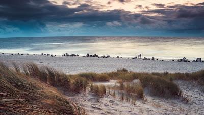 Quiet place, beach, sea, grass, sand, clouds, sky