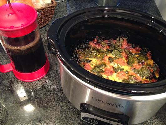 Slow Cooker Cheese Greens & Sausage Frittata