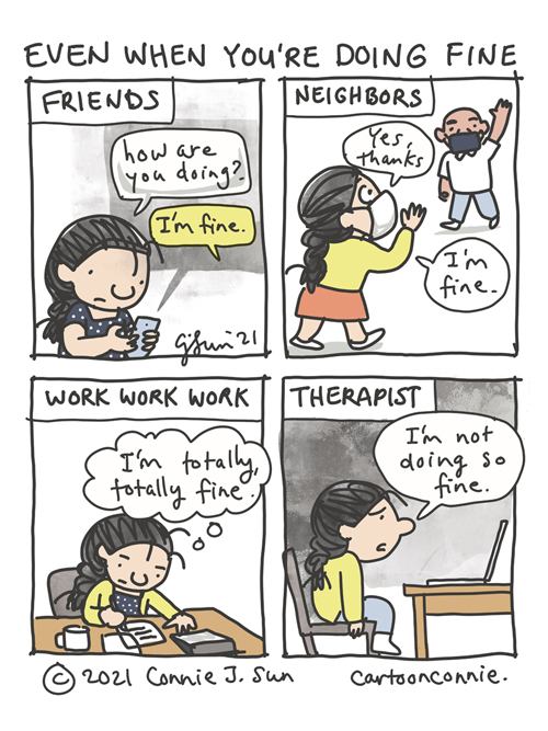 Comic strip about everyday mental health and the role of therapy, by Connie Sun, cartoonconnie, sketchbook cartoon