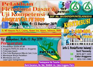 Pelatihan Flebotomi Dasar & Uji Kompetensi Angkatan IV 2019 | DPW PATELKI DKI Jakarta 2019
