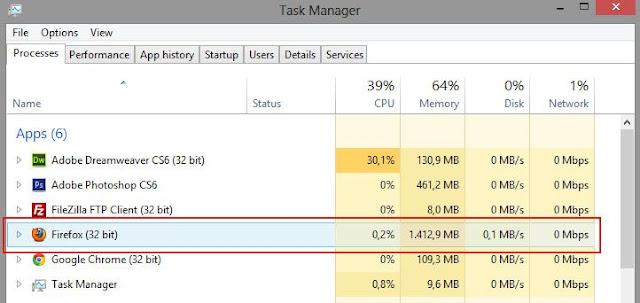 Firefox fica travando e falta memória