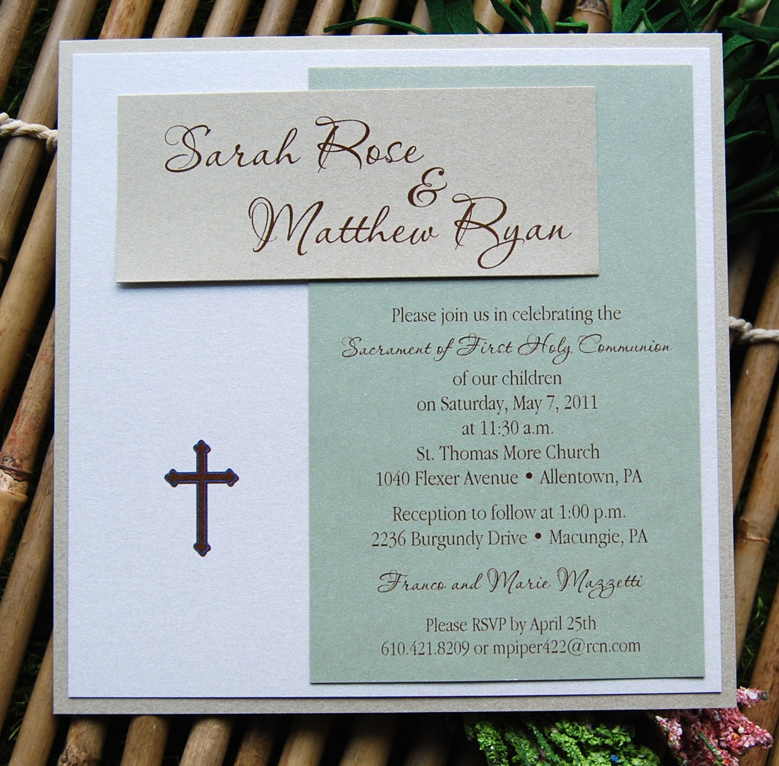 Baptism Invitations Two Babies