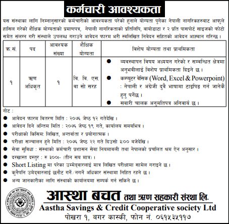 Vacancy at Aastha Savings & Credit Cooperative Society Ltd.