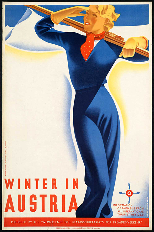 Winter in Austria - Vintage Travel Poster, classic posters, free download, free posters, free printable, graphic design, printables, retro prints, travel, travel posters, vintage, vintage posters, vintage printables, vintage travel posters