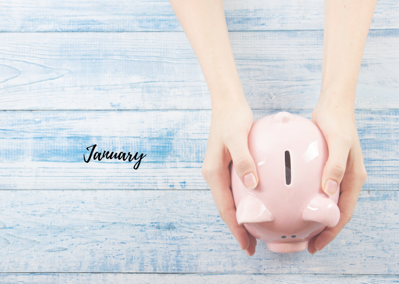 Picture of a piggy bank and the words 'January' in a post about my 2020 no buy challenge January update
