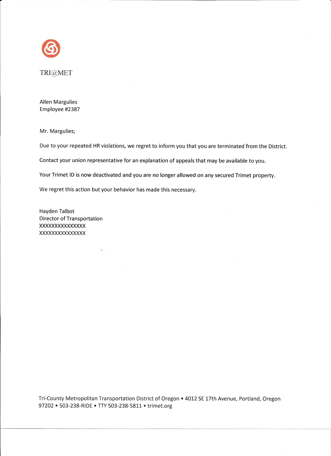 driver termination letter
