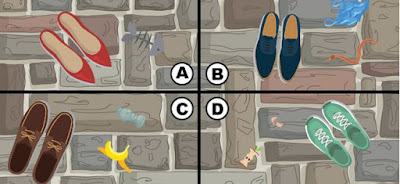 Alt-4 Q 15. the streets are crowded and kiki is having a hard time moving around. she hears a coin fall to the ground and begins looking for it. which part of the image has the coin?