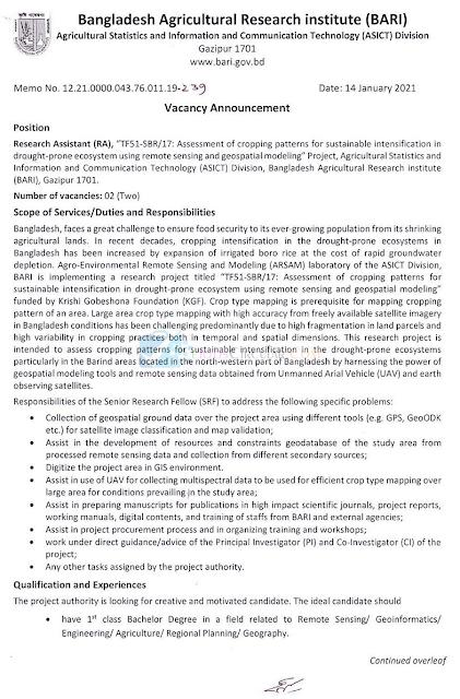 Bangladesh Agricultural Research Council Circular 2021