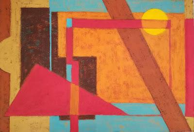 Obra de arte geométrica creada con pinturas acrílcas sobre cartulina. Representa una carretera cruzando el desierto.